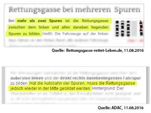 Screenshots von den Webseiten ADAC und Rettungsgasse-rettet-Leben.de mit unterschiedlichen Angaben zur Rettungsgsse-Regelung bei mehr als drei Spuren