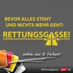 """Aufkleber mit dem Text: """"Bevor alles steht und nichts mehr geht – Rettungsgasse!"""""""