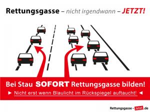 Rettungsgasse-Darstellung: Alle Fahrzeuge auf der ganz linken Spur stheen im TSau links am Rand. Alle Fahrzeuge auf den übrigen Spuren stehen rechts versetzt am Rand