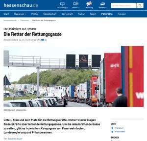 Screenshot der Webseite hessenschau.de mit Beitrag über hessische Rettungsgasse-Initiativen