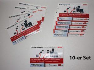 10 Stück Visitenkarten-Aufkleber mit Rettungsgasse-Grafik