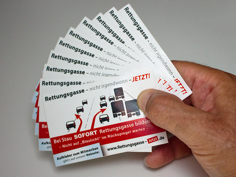 Rettungsgasse Aufkleber Set Im Visitenkarten Format 10 Stück