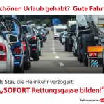 Rettungsgasse-Hinweis bei Stau im Rückreiseverkehr