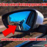 Außenspiegel mit Rettungsgasse-Hinweis