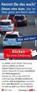 Facebook-Foto mit drei Autos im Stau auf der linken Fahrspur, Erklärung dass die Rettungsgasse sofort bei Stau zu bilden ist