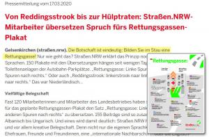 Screenshot der Pressemitteilung von Strassen.NRW. mit markiertem Textbereich